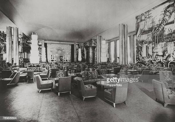 circa 1930's Part of the Grand Salon on the French liner Normandie The Normandie launched in 1932 and famous for it's lavish interiors was however...