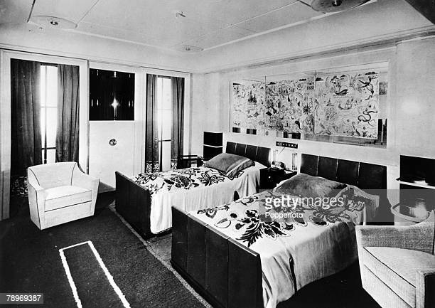 circa 1930's The bedroom of a private suite on the French liner Normandie The Normandie launched in 1932 and famous for it's lavish interiors was...