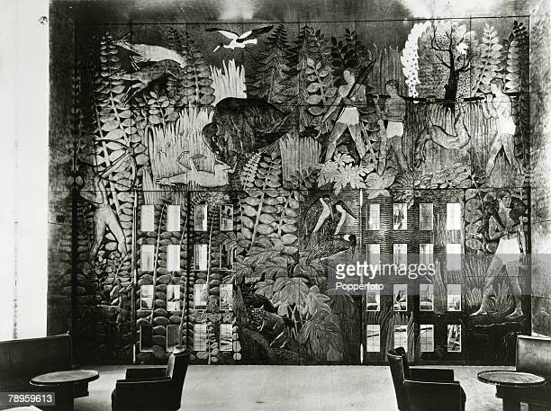 circa 1930's The Bronze Doors and elaborate design on the French liner Normandie launched in 1932 and for 5 years the largest liner afloat