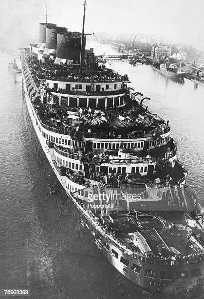 circa 1930's The French liner Normandie pictured nearing completion at Saint Nazaire France The Normandie launched in 1932 and famous for it's lavish...