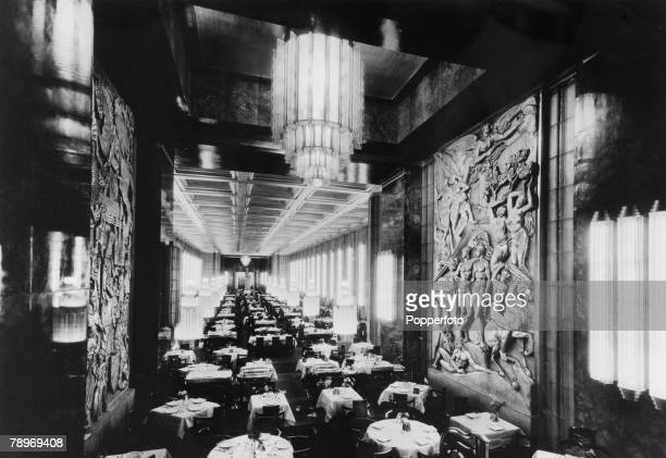 """Transport, Shipping, pic: circa 1930's,The Ist Class Dining Room on the French liner """"Normandie"""", The Normandie launched in 1932 and famous for it's..."""