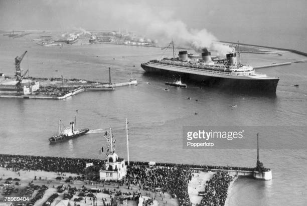"""Transport, Shipping, pic: May 1935, The French liner """"Normandie"""" leaving Le Havre, France on the inaugural voyage, a record breaking Atlatic crossing..."""
