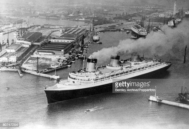May 1935 The French liner Normandie leaving Southampton England while on her maiden voyage a record breaking Atlantic crossing to New York The...