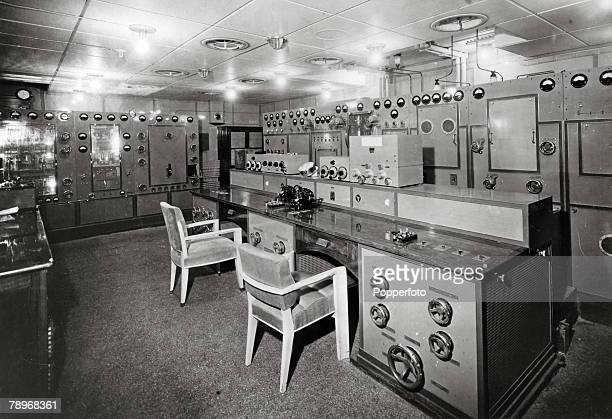 """Transport, Shipping, pic: May 1935, The wireless room aboard the French liner """"Normandie"""", The Normandie launched in 1932 and famous for it's lavish..."""