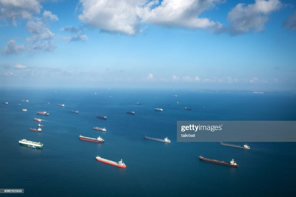 Transport ships at the ocean, Singapore : Stock Photo