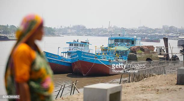 Transport ships lie at anchor in on April 11 2016 in Khulna Bangladesh