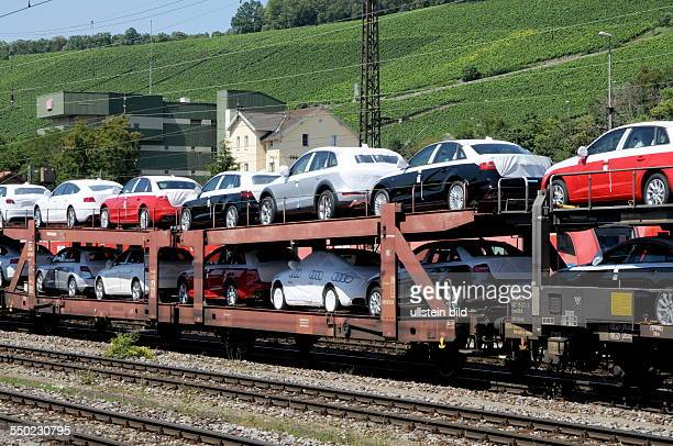 A transport train with brand new cars of the brand 'Audi' near Würzburg