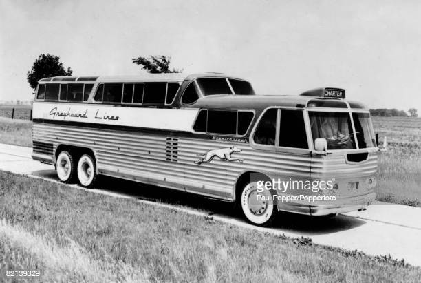 circa 1946 The Greyhound 'Scenicruiser' made for long distance travel across Americaand designed by Raymond Loewy the industrial engineer
