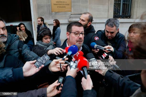 CGT Transport union JeanMarc Lambert answers journalists' questions following a meeting with French Transports Minister on December 6 2018 in Paris