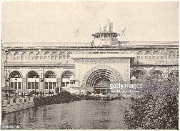 Transportation Building with gilded arch South Lagoon, Architect Louis Sullivan, World's Columbian Exposition, Chicago, Illinois, 1896.