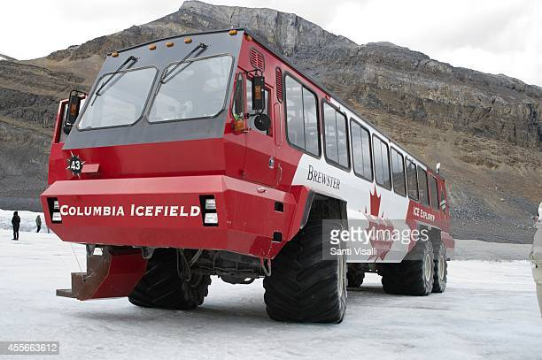 Transportation bus to the Athabasca Glacier on September 4 2014 in Banff National Park Alberta Canada