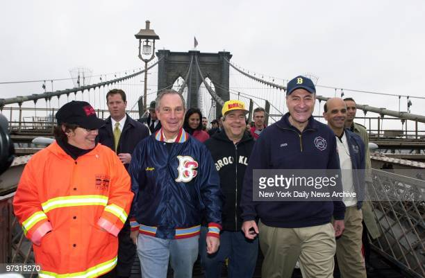 Transportation Commissioner Iris Weinshall Mayor Michael Bloomberg Brooklyn Borough President Marty Markowitz and Sen Chuck Schumer lead a procession...