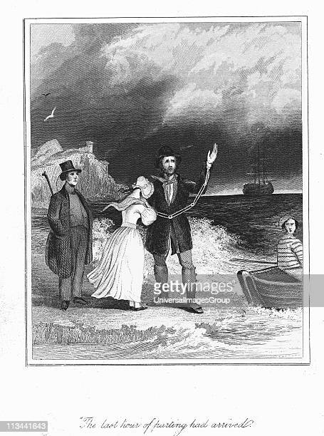Transportation: Convict in chains bidding farewel, perhaps for every, before being rowed out to join the convict ship bound for Australia, parts of...
