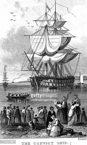 Transportation Convict ship ready to sail from England to Australia parts of which Britain used as a penal colony Friends and relations having said...