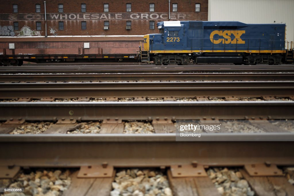Transportation Inc. EMD GP-30 road slug freight locomotive sits parked on train tracks in Huntington, West Virginia, U.S., on Saturday, April 14, 2018. CSX Corp. is scheduled to release earnings figures on April 17. Photographer: Luke Sharrett/Bloomberg via Getty Images