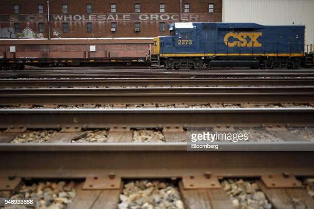 Transportation Inc EMD GP30 road slug freight locomotive sits parked on train tracks in Huntington West Virginia US on Saturday April 14 2018 CSX...