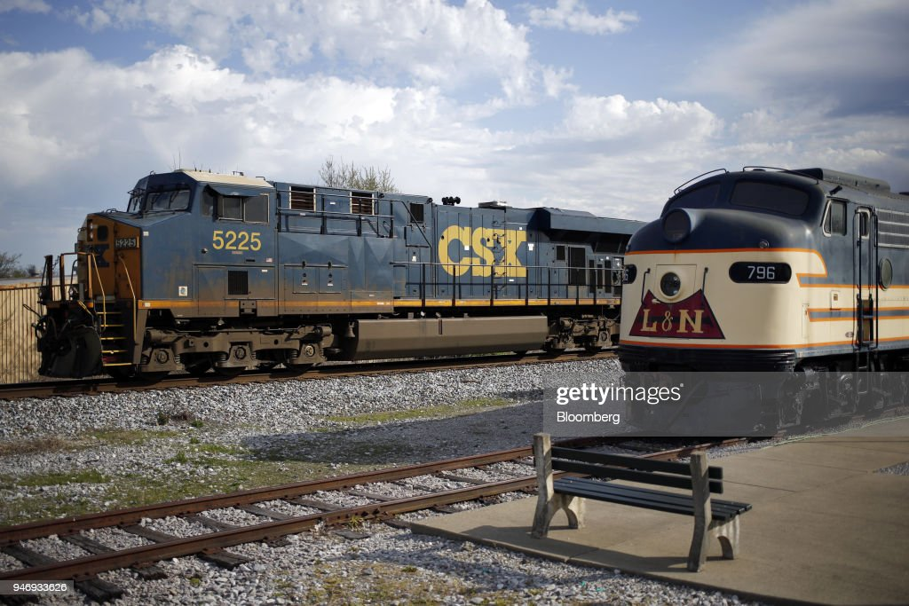 Transportation Inc. freight locomotive pulls a train through Bowling Green, Kentucky, U.S., on Friday, April 13, 2018. CSX Corp. is scheduled to release earnings figures on April 17. Photographer: Luke Sharrett/Bloomberg via Getty Images
