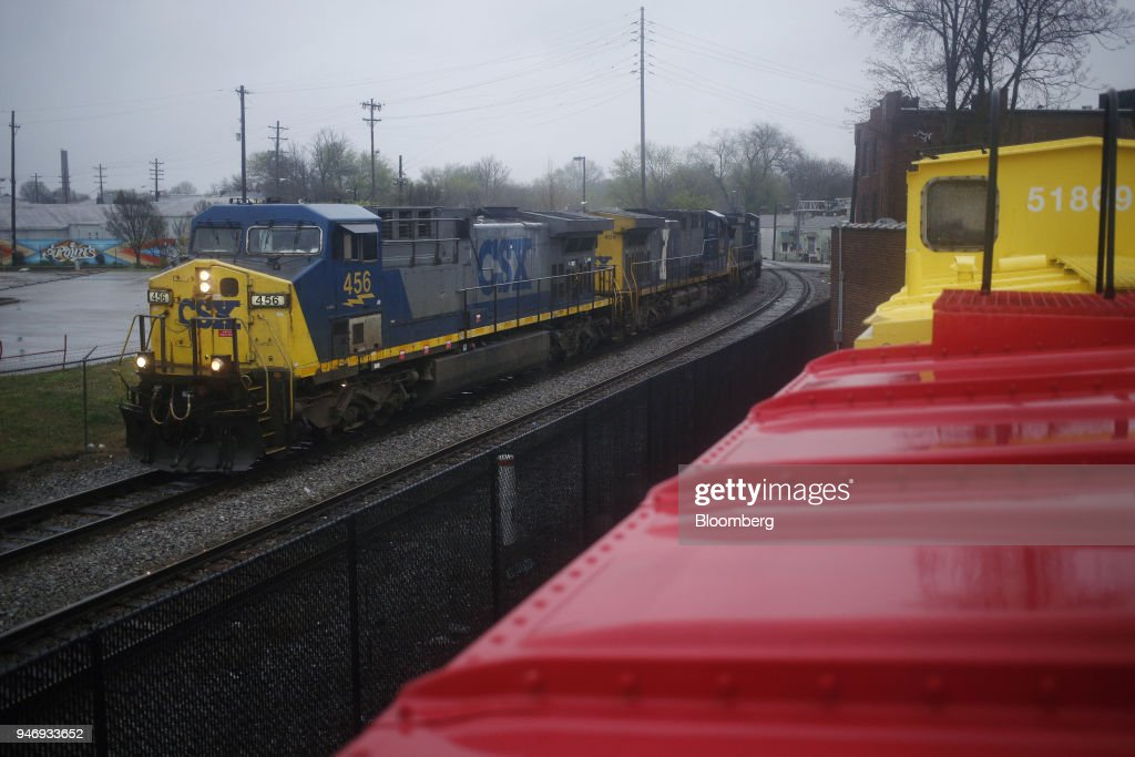 Transportation Inc. freight locomotive pulls a train through Louisville, Kentucky, U.S., on Sunday, April 15, 2018. CSX Corp. is scheduled to release earnings figures on April 17. Photographer: Luke Sharrett/Bloomberg via Getty Images