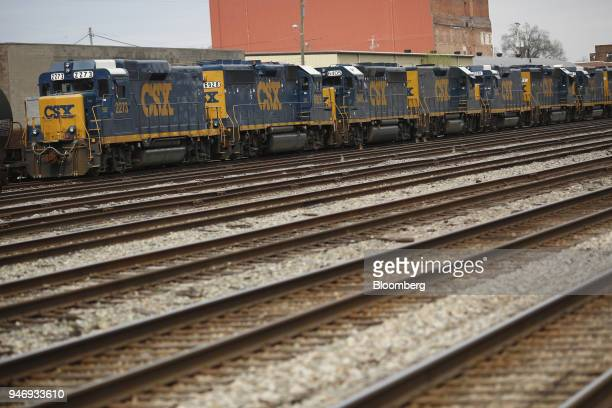 CSX Transportation Inc freight locomotives sit parked on train tracks in Huntington West Virginia US on Saturday April 14 2018 CSX Corp is scheduled...