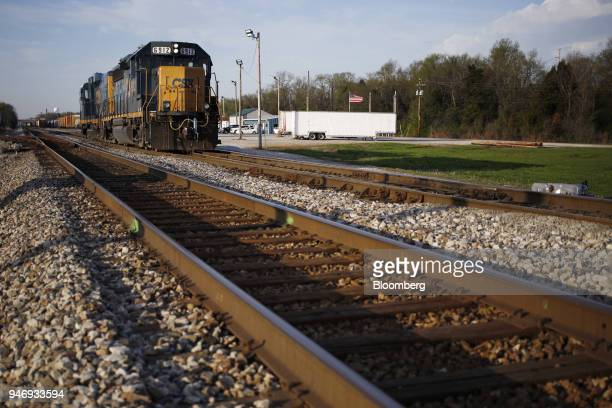CSX Transportation Inc freight train locomotives sit parked at a rail yard in Bowling Green Kentucky US on Friday April 13 2018 CSX Corp is scheduled...