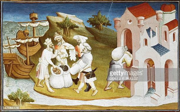 Transportation of spices to the west and unloading spices in the east miniature from Livre des merveilles du monde by Marco Polo and Rustichello...