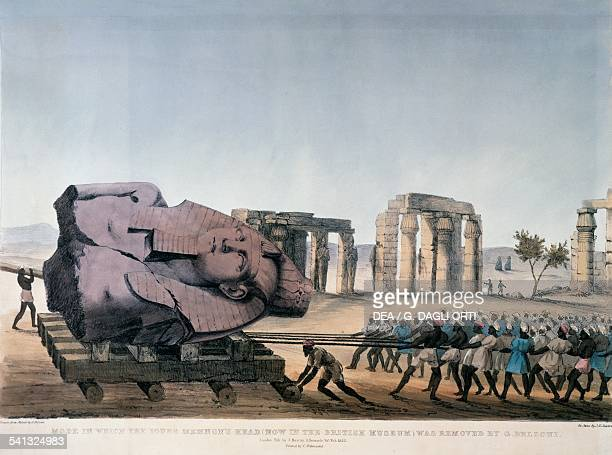 Transportation of the colossal bust of Ramesses II, known as the Young Memnon, drawing by Giovanni Battista Belzoni , from Narrative of the...