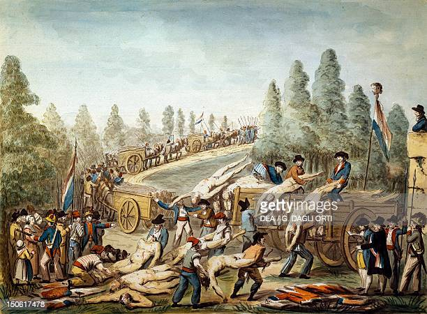 Transportation of the dead during the French Revolution tempera painting by an unknown artist France 18th century