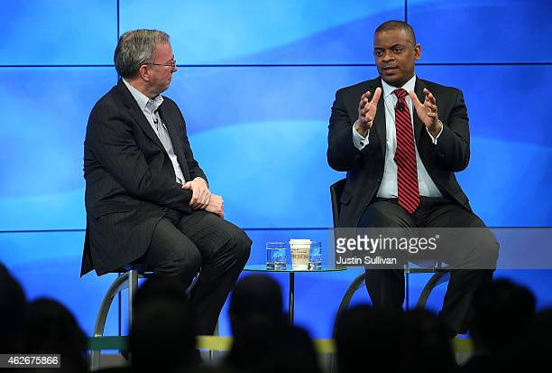 S Transportation Secretary Anthony Foxx speaks during a fireside chat with Google Chairman Eric Schmidt at the Google headquarters on February 2 2015...