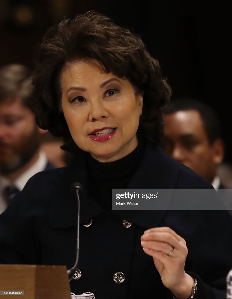Transportation Secretary Elaine Chao, appears before the Senate Commerce, Science and Transportation Committee, on March 14, 2018 in Washington, DC. The committee is hearing testimony on President Donald Trump's plan to rebuld the nations infrastructure.