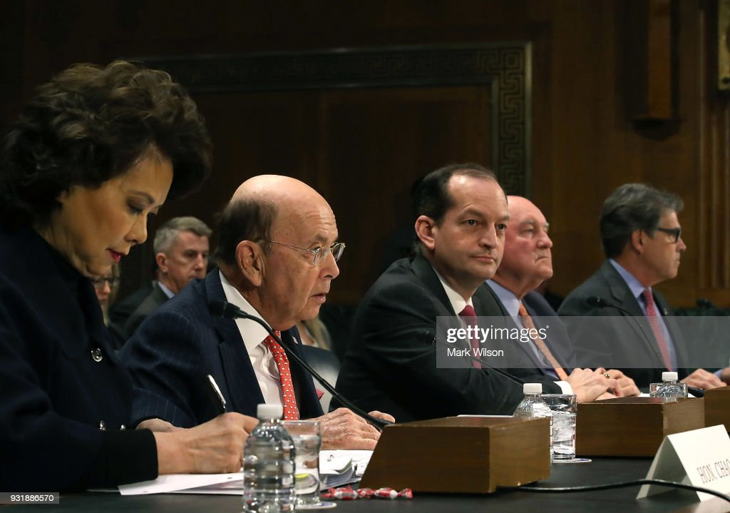 , Transportation Secretary Elaine Chao, Commerce Secretary Wilbur Ross, Labor Secretary Alexander Acosta , Agriculture Secretary Sonny Perdue , Energy Secretary Rick Perry, appear before the Senate Commerce, Science and Transportation Committee, on March 14, 2018 in Washington, DC. The committee is hearing testimony on President Donald Trumps's plan to rebuld the nations infrastructure.