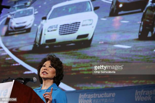 S Transportation Secretary Elaine Chao delivers remarks during the US Chamber of Commerce's 'Infrastructure Week' program May 15 2017 in Washington...