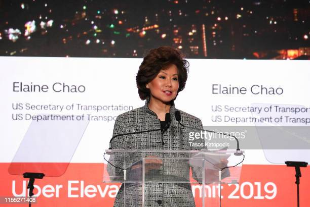 Transportation Secretary Elaine Chao speaks during the Uber Elevate Summit 2019 at Ronald Reagan Building and International Trade Center on June 11...