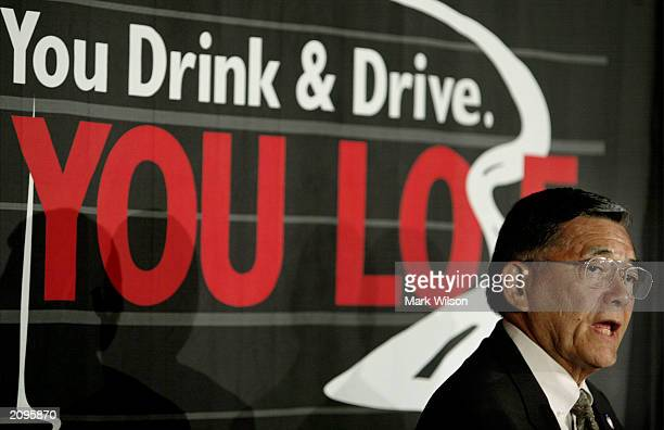 S Transportation Secretary Norman Mineta speaks at a news conference to announce a national crakdown on drunk driving June 19 2003 in Washington DC...