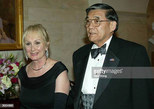 Transportation Secretary Norman Y Mineta and his wife Danealia arrive for a dinner hosted by President George W Bush and first lady Laura Bush for...