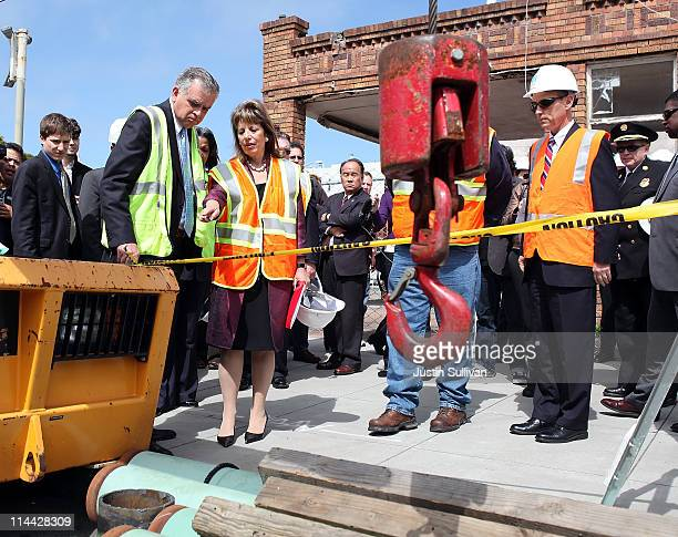 S Transportation Secretary Ray LaHood and US Rep Jackie Speier tour a gas line replacement construction site with Pacific Gas and Electric president...