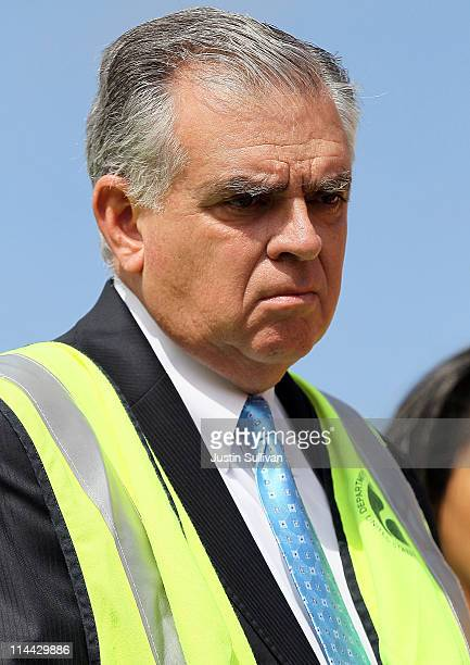 S Transportation Secretary Ray LaHood looks on during a tour of a gas line replacement construction site on May 19 2011 in San Francisco California...