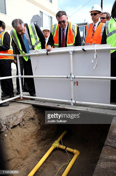 US Transportation Secretary Ray LaHood San Bruno mayor Jim Ruane Pacific Gas and Electric president Chris Johns tour of a gas line replacement...