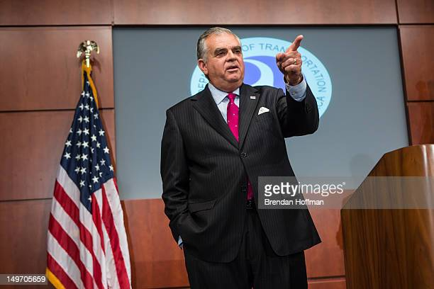 Transportation Secretary Ray LaHood speaks at a news conference at the Department of Transportation on August 2 2012 in Washington DC LaHood...