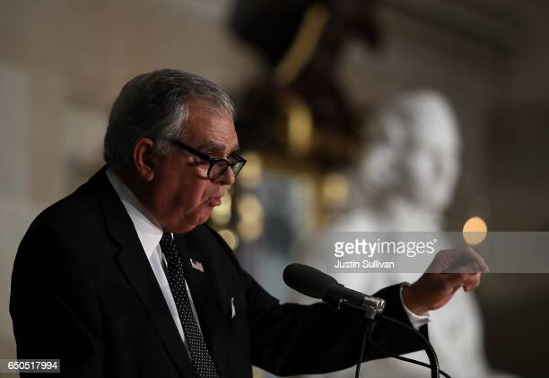 S Transportation Secretary Ray LaHood speaks during a memorial ceremony to honor the life of former House Minority Leader Rep Bob Michel in Statuary...