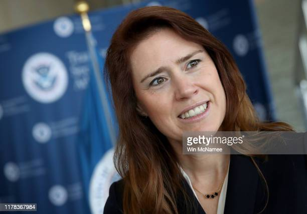 Transportation Security Administration Acting Deputy Administrator Patricia Cogswell speaks during a press conference at Ronald Reagan Washington...