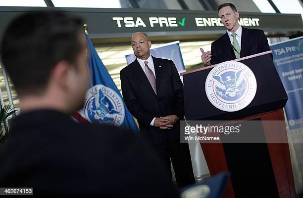 Transportation Security Administration Administrator John Pistole and Homeland Security Secretary Jeh Johnson speak at the opening of a new TSA...