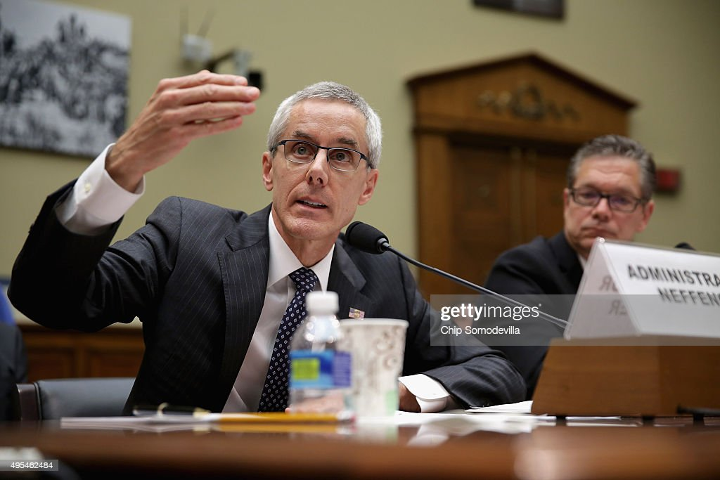 Transportation Security Administration Adminstrator Peter Neffenger (L) and Homeland Security Inspector General John Roth testify before the House Oversight and Government Reform Committee about lapses in TSA screening in the Rayburn House Office Building on Capitol Hill November 3, 2015 in Washington, DC. Leaked to the news media earlier this year, a TSA inspector general's report found that investigators were able to slip through airport security with weapons and phony bombs more than 95 percent of the time at different airports across the country, constituting 'significant breeches,' according to Roth.