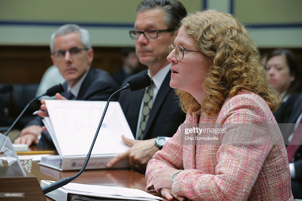 Transportation Security Administration Adminstrator Peter Neffenger, Homeland Security Inspector General John Roth and Jennifer Grover, acting director of homeland security and justice issues at the Government Accountability Office, testify before the House Oversight and Government Reform Committee about lapses in TSA screening in the Rayburn House Office Building on Capitol Hill November 3, 2015 in Washington, DC. Leaked to the news media earlier this year, a TSA inspector general's report found that investigators were able to slip through airport security with weapons and phony bombs more than 95 percent of the time at different airports across the country, constituting 'significant breeches,' according to Roth.