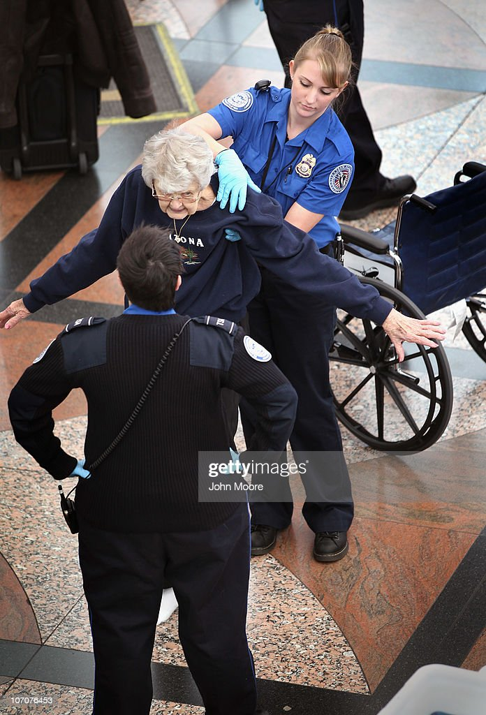 A Transportation Security Administration agent performs an enhanced pat down on an elderly traveler at the Denver International Airport on November 22, 2010 in Denver, Colorado. The TSA is bracing for heavy traffic the day before Thanksgiving, as two separate internet campaigns are promoting a 'National Opt-Out Day' protest during which travelers are urged to refuse the new body scanners because of concerns over privacy and possible exposure to radiation. Those passengers who refuse the scans must instead undergo an enhanced pat down by TSA agents, which could further slow down security lines on the busiest air travel day of the year.