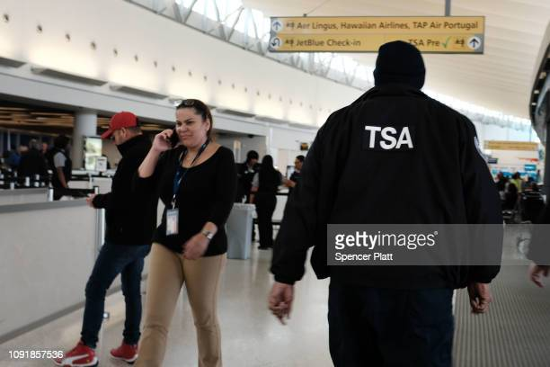 Transportation Security Administration agent walks through JFK airport on January 09 2019 in New York City Its been reported that hundreds of TSA...