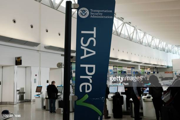 Transportation Security Administration checkpoint stands at JFK airport on January 09 2019 in New York City Its been reported that hundreds of TSA...