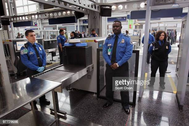 Transportation Security Administration officers staff a checkpoint at O'Hare International Airport on March 15 2010 in Chicago Illinois Today TSA...