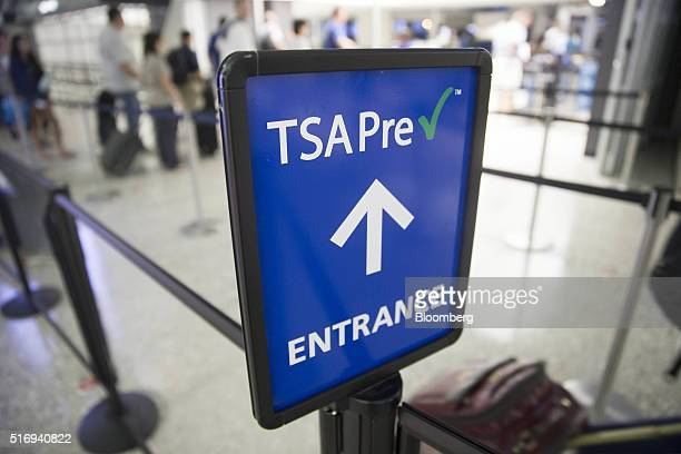 Transportation Security Administration pre-check sign stands at Dulles International Airport in Dulles, Virginia, U.S., on Wednesday, Aug. 19, 2015....