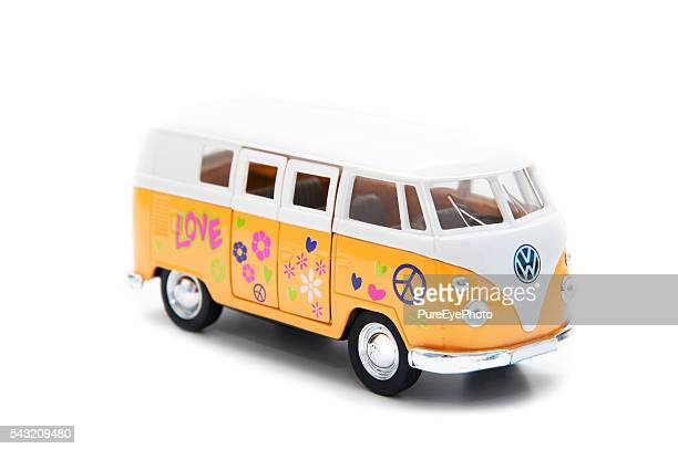 vw transporter with flower figures - volkswagen stock pictures, royalty-free photos & images