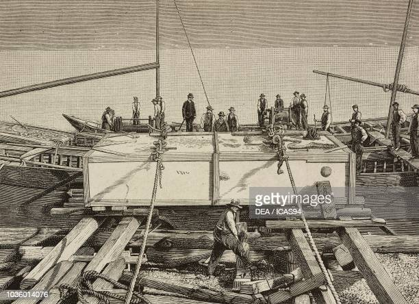 Transporting granite blocks on Lake Maggiore to be used for the base of the Vittorio Emanuele II monument in Genoa, Italy, drawing by Attilio Balena,...